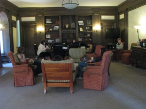 The Haunted Mansion Writers at work in the Safe Room. Photo by Sephera Giron. Angel is on the left in her sweater.