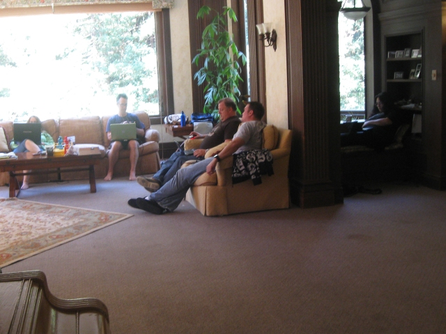 Writers hard at work: S.G. Browne, Weston Ochse, and Dan Weidman. Photo by Kim Richards.