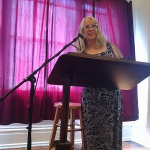 Loren reading at Borderlands Books. Photo by R. Samuel Klatchko.